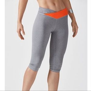 Fabletics Orange and Gray Cropped Leggings